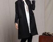 Black Coat Jacket in Winter, Long Linen Coat, Trench Coat, Outwear, Stylish Winter Coat, Long sleeve Coat, Black Jacket