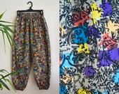 90s hammer time pants / vintage multicolored abstract print harem pants dropped crotch