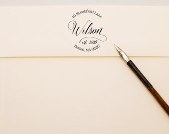 Modern Calligraphy Est. Last Name Address Stamp - Round Personalized Self Inking Stamp