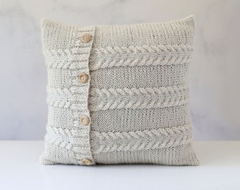 Knitted pillow - cable cushion cover hand knitted - ivory decorative pillows case - knit home decor 16x16   0301