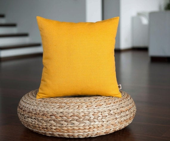 Yellow Linen Throw Pillow : Yellow decorative pillow cover linen pillow yellow cushion