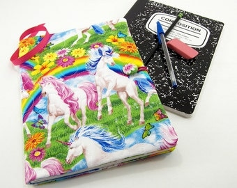 Composition Notebook Cover, Reusable Fabric Journal Cover, School Notebook  - Colorful Unicorns and Rainbows Notebook