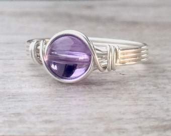 Amethyst ring, Silver wire wrapped amethyst ring, Amethyst wire wrapped ring, silver gemstone ring