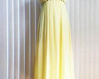 Vintage 60s pastel yellow dress/ lemon yellow cocktail dress/ chiffon party prom dress