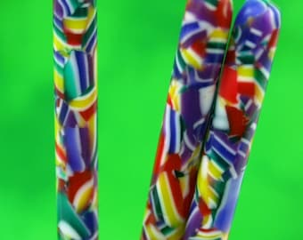 waving flags confetti acrylic hair stick   (choose one or more)