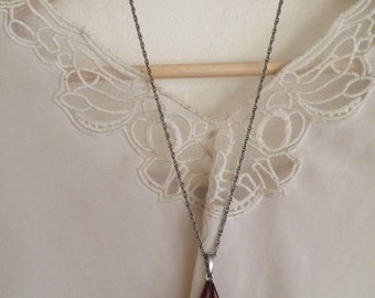 Wood triangle pendant necklace