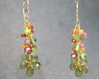 Cluster earrings of pink ruby, carnelian, peridot, and idocrase Princess 178