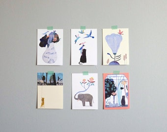 Set of 6 postcards, The Jungle, Illustration, Digital print