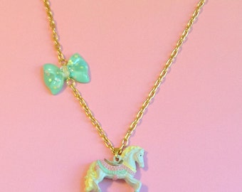 Pastel Carousel Horse Necklace with Mint Holographic Star Bow Charm
