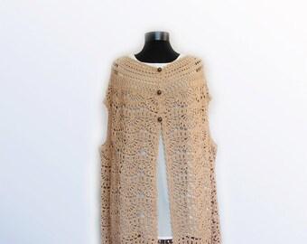 Vest,Woman Crochet Vest, Crochet Boho vest, Lace crochet  Hippie vest,hand crochet vest,Vest cover up crochet bolero