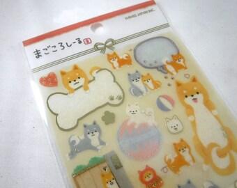 Kawaii Japan Sticker Sheet: Kamio Magokoro Watercolor Writeable Masking Seal Series Japan Culture SHIBA DOGS Tan Black Pets Animals Love R