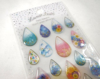 Kawaii Japan Sticker Sheet Assort Epoxy Glitter Drop Lunar Tears MAGIC DROPS Tear Drop Shape Colorful Flowers Glitter Stones Metallic Gold R
