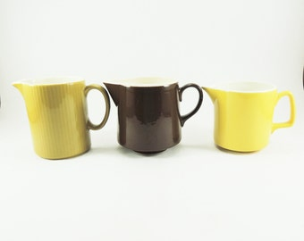 Vintage Mid Century Creamer Collection -- Instant Pitcher Collection, Yellow, Gold, Brown, Set of 3, Bed & Breakfast Service, Wedding Table