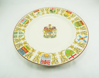 Vintage Canada Souvenir Plate, Travel Memorabilia, Crown Ducal English China, Canada Provinces Coat of Arms, Canada Province Crest, England