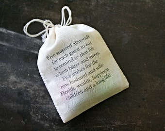 Wedding favor bags, set of 50. Personalized Jordan Almond bags with traditional poem. Personalized with names, wedding date. Hand stamped.