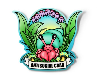 Kawaii Hermit Crab Sticker - Kawaii Sticker, Antisocial Word Sticker, Soft Grunge Sticker, Original Artwork