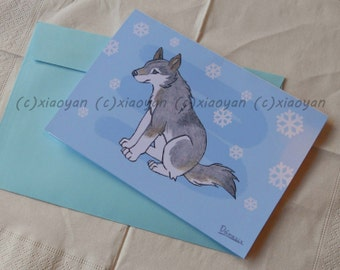 wolf greeting card - puppy dog - cute animal notecards