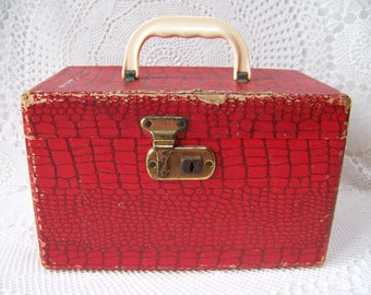 Vintage Small Red 1950's Suitcase Toiletries Case with Mirror.Vintage Cosmetic Travel Case.Photography Props.Faux Alligator Suitcase.Rustic.