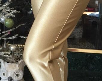 NOS Gold Spandex 80s cigarette Stirrup Pants