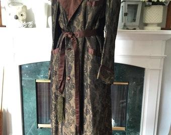 40s Brown Brocade Mens Robe Sz Small