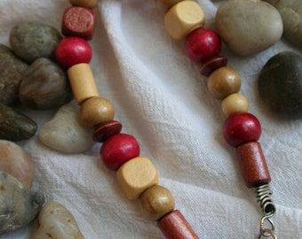 Browns and Red Wooden Bead Bracelet
