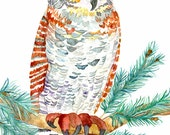 Great Horned Owl No.1, Archival Print of Original Watercolor, you choose size
