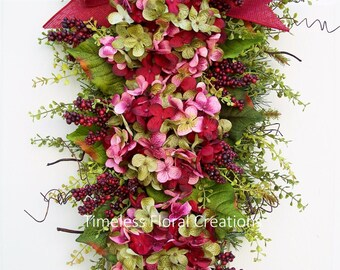 "Fall~Hydrangea Wreath Swag, ""Burgundy Blaze"", Floral Swag for your Front Door, Burgundy Front Door Decoration~Timeless Floral Creations"