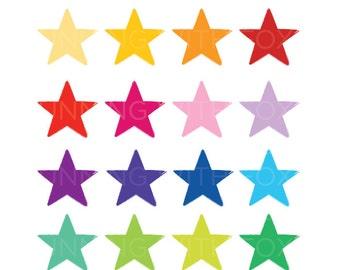 Brush Edge Star Clip Art Set | Rough Light Grunge Star Shape Graphic | Digital Illustration Stock Icons | Personal or Commercial Use