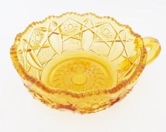 Hob Star Cut Glass Nappy / Candy Dish, Amber Candy Dish