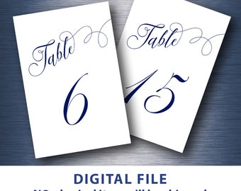 Navy blue Wedding table numbers printable 4x6 Modern calligraphy party reception 1-30 minimalist elegant script font
