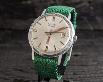 Vintage Poljot mens watch, vintage russian watch, soviet mechanical wrist watch, vintage men's watch
