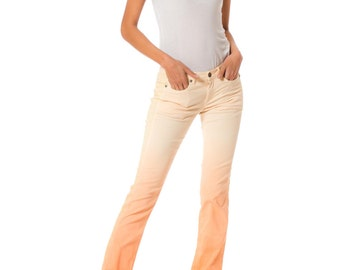 Vintage Peach Embroidered Jeans by Versace Jeans Couture
