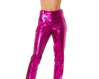 1980s Disco Shiny Purple Lamé High Waist Stretch Pants