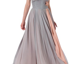 1930s One Shoulder Blue Chiffon Flowy Ballgown SIZE: XS, 0