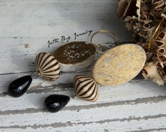 Harlequin- black cream gold glam earrings. vintage glass and Lucite beads. artisan wood beads. little black dress worthy. Jettabugjewelry
