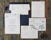 Starry Night Wedding Invitation Suite, letterpress whimsical evening stars moon clouds navy outdoor wedding simple dreamy