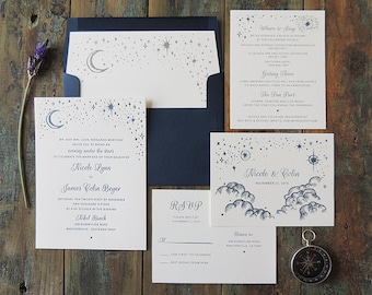 Starry Night Wedding Invitation Suite Letterpress Whimsical Evening Stars Moon Clouds Navy Outdoor Simple