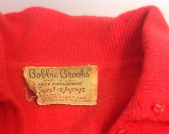 Red wool Bobbie Brooks sweater from 1940s