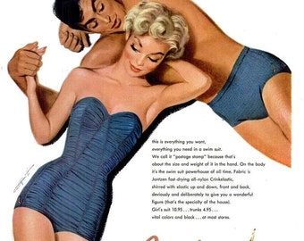 1953 Jantzen Swimsuits Fashion Pete Hawley Sexy Marilyn Monroe Pin Up Illustration Blonde Bombshell Beach Print Art Wall Decor Advertisement