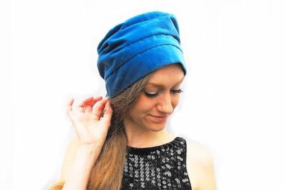 RARE 1960s Vera Neumann Blue Velveteen Head Scarf Hat Hollywood Designer Millinery Fashion Velvet Velour Beehive Rayon Taffeta Lining Cloche