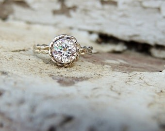 Halo Ring, Engagement Halo Ring, Forever One Moissanite, Rope Halo Ring, Rope Engagement Ring, Moissanite Engagement, Rose Gold Engagement