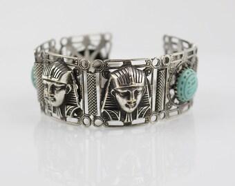 Egyptian Revival Bracelet Filigree Style with Pharaoh and Elephant Pattern