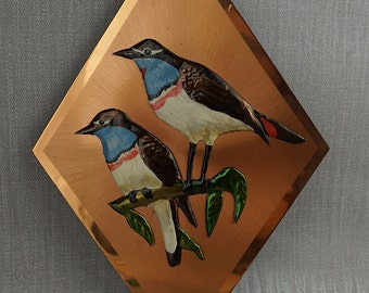 Blue Throat Birds on Brushed Copper Diamond Shaped Picture Wall Art made in Zimbabwe