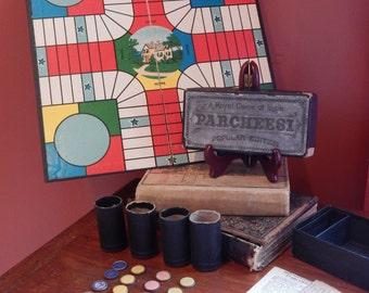 Vintage Parcheesi Game Board and Pieces- Circa 1918