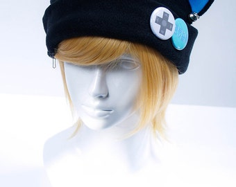 Cat Kitty Fleece Hat Anime Cosplay Gamer Cat Game Over (Teal)