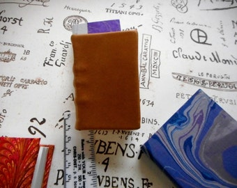 """Miniature Handmade blank book with full leather binding: """"Small Writings"""" - For very small thought and words. Small sketches. Collectors"""
