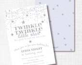 TWINKLE TWINKLE little star lavender silver glitter birthday party invitation invite she's grown so much and come so far 1st first 2nd 3rd