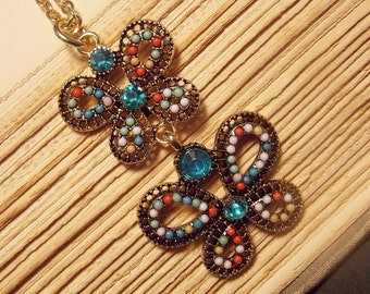 Beaded Double Butterfly Necklace
