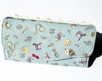 Alice in Wonderland Inspired Necessary Clutch Wallet / Purse in Blue with Lace Accent and White Rabbit Zipper Pull
