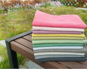 Solid Cotton Linen Fabric, Washing Linen - 12 Solid Colors - 59 Inches Wide - By the Yard 89823